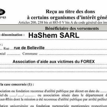 Dieu remettra lui-même le CERFA pour tout don à la synagogue supérieur à 1000 €